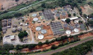An aerial view of the Amanzimtoti Waste Water Treatment Works