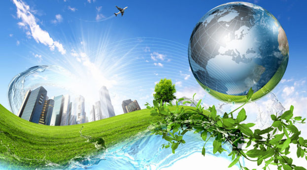 Green nature landscape with planet Earth image