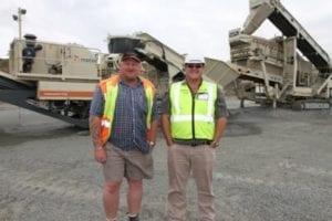 WK Crushing's site manager, Dirk van Schalkwyk, and Barloworld Equipment Metso Mobile's sales consultant, Lantie van der Merwe photo