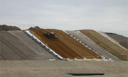 The use of waste within steep walls with the support of geogrids and geomembranes