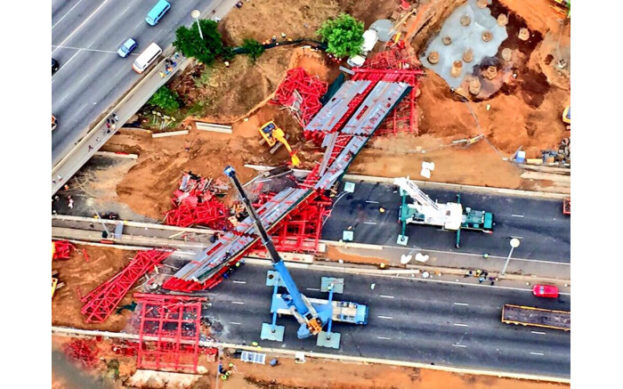 An aerial view of the scene where the the scaffolding of a bridge being constructed over the M1 highway collapsed on 14 October 2015. Aki Anastasiou EWN