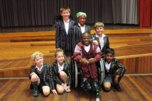 Denver Whitebooi with pupils from Merryvale Primary School in Port Elizabeth.