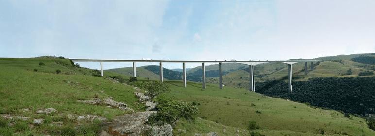 Architectural representation of the N2 Wild Coast Mtentu Bridge.