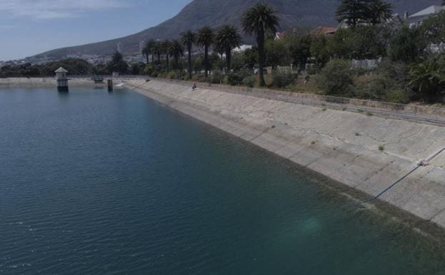 The first water from the Oranjezicht Main Springs Chamber started flowing into the Molteno Reservoir today