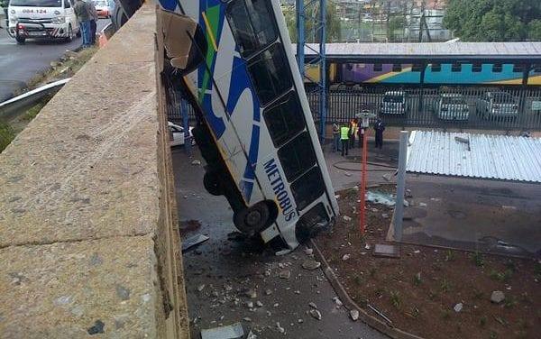 Bus hanging off of Queen Elizabeth Bridge in JHB