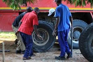 Africa truck tyre change