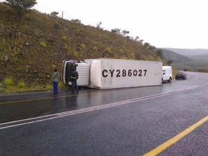 Truck lying on its side