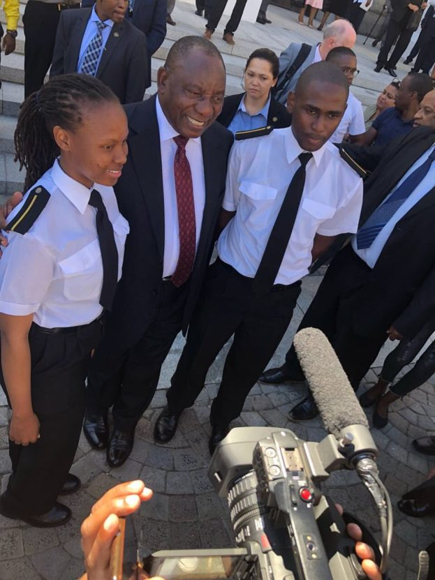Ayanda Miya and Mluleki Khwela with President Cyril Ramaphosa