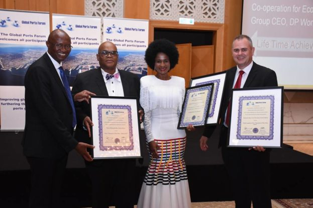 RBCT General Manager Operations, Jabu Mdaki, Richards Bay Port Manager, Preston Khomo, TNPA COO Phyllis Difeto and CEO of RBCT Alan Waller with the awards earned at the 4th Annual Global Ports Forum Awards held in Dubai